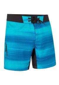 OLAIAN - Spodenki surfing krótkie BS 500 Fast. Kolor: czarny, niebieski, wielokolorowy. Materiał: poliester, materiał. Długość: krótkie. Wzór: aplikacja