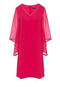 Różowa sukienka Vito Vergelis na ślub cywilny, dla puszystych, wizytowa, z aplikacjami