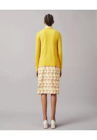 Tory Burch - TORY BURCH - Wełniany kardigan Simone. Kolor: żółty. Materiał: wełna. Długość rękawa: długi rękaw. Długość: długie