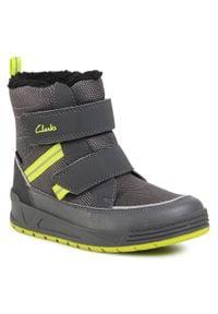 Clarks - Śniegowce CLARKS - Jumper Jump K 261535787 Grey. Kolor: szary. Materiał: skóra ekologiczna, materiał. Szerokość cholewki: normalna