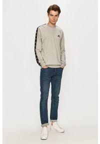 Szara bluza nierozpinana Adidas z aplikacjami, casualowa, na co dzień, z okrągłym kołnierzem