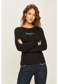 Czarna bluzka z długim rękawem Pepe Jeans z nadrukiem, casualowa, na co dzień