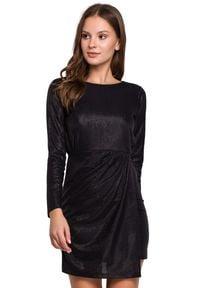 Makover - Olśniewająca połyskująca wieczorowa sukienka mini. Okazja: na randkę, na imprezę. Długość rękawa: długi rękaw. Typ sukienki: dopasowane, asymetryczne. Styl: wizytowy. Długość: mini