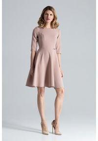 Figl - Różowa Rozkloszowana Sukienka przed Kolano. Kolor: różowy. Materiał: elastan, wiskoza, poliester