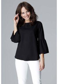 Katrus - Czarna Elegancka Bluzka z Hiszpańskim rękawkiem ¾. Kolor: czarny. Materiał: wiskoza, poliester. Długość rękawa: krótki rękaw. Styl: elegancki