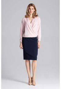 Figl - Kopertowa Różowa Bluzka z Gumka na Dole. Kolor: różowy. Materiał: elastan, poliester