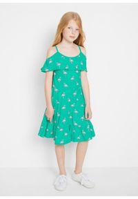 Sukienka dziewczęca z dżerseju bonprix niebieski mentolowy wzorzysty. Kolor: zielony. Materiał: jersey #3