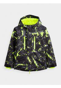4f - Kurtka narciarska chłopięca (122-164). Kolor: zielony. Materiał: materiał, poliester. Sezon: zima. Sport: narciarstwo