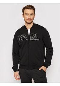 Karl Lagerfeld - KARL LAGERFELD Bluza 705034 511902 Czarny Regular Fit. Typ kołnierza: dekolt w karo. Kolor: czarny
