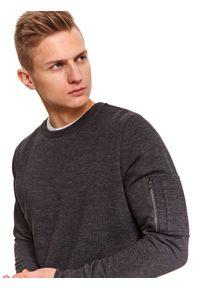 TOP SECRET - Bluza gładka z kieszonką. Kolor: szary. Materiał: materiał. Długość: długie. Wzór: gładki. Sezon: jesień, zima. Styl: klasyczny