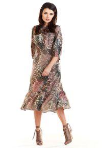 Brązowa sukienka wizytowa Awama midi