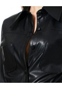 AGGI - Koszula ze skóry wegańskiej Tara. Okazja: na co dzień. Kolor: czarny. Materiał: skóra. Długość: długie. Sezon: lato. Styl: casual