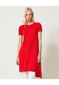 TwinSet - TWINSET - Czerwona tunika z rozcięciami. Kolor: czerwony. Materiał: materiał