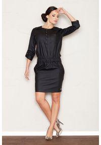 Figl - Czarna Sukienka Mini z Rękawem 3/4 w Stylu Casual. Okazja: na co dzień. Kolor: czarny. Materiał: wiskoza, nylon, elastan. Typ sukienki: proste. Styl: casual. Długość: mini