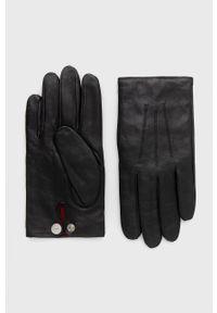 Hugo - Rękawiczki skórzane. Kolor: czarny. Materiał: skóra