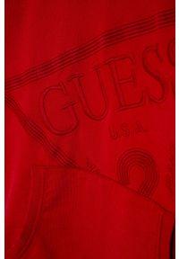Czerwona bluza Guess Jeans casualowa, z aplikacjami, z kapturem