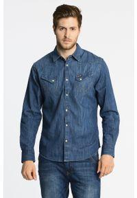 Niebieska koszula Wrangler na co dzień, z aplikacjami, długa