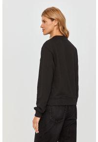 Czarna bluza Guess Jeans casualowa, z aplikacjami, bez kaptura