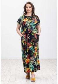 Czarna sukienka Moda Size Plus Iwanek boho, na lato, z krótkim rękawem, z nadrukiem