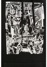 Czarna bluza nierozpinana Element z nadrukiem, z kapturem, casualowa