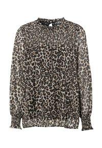 Cellbes Marszczona bluzka we wzory zwierzęce we wzory female ze wzorem 38/40. Materiał: szyfon, jersey. Długość rękawa: długi rękaw. Długość: długie. Wzór: motyw zwierzęcy. Styl: elegancki