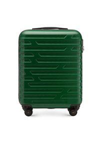 Zielona walizka Wittchen klasyczna, w geometryczne wzory