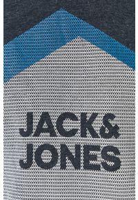 Niebieska bluza nierozpinana Jack & Jones na co dzień, casualowa, z nadrukiem