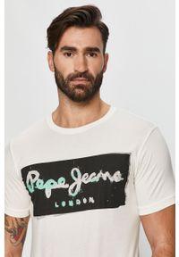 Biały t-shirt Pepe Jeans z nadrukiem, z okrągłym kołnierzem