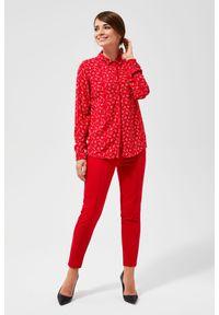 Czerwona koszula MOODO z długim rękawem, długa, z nadrukiem, wizytowa