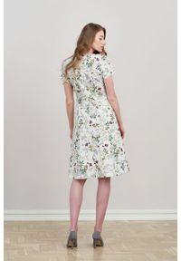 Marie Zélie - Sukienka Asteria Ficiforma kremowa. Kolor: kremowy. Materiał: materiał, skóra, bawełna, elastan. Wzór: gładki. Typ sukienki: trapezowe. Styl: klasyczny