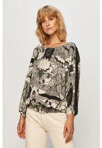 Wielokolorowa bluzka Desigual z dekoltem typu hiszpanka, casualowa, na co dzień