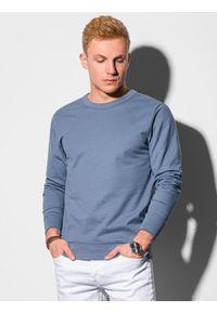 Ombre Clothing - Bluza męska bez kaptura B1153 - niebieska - XXL. Typ kołnierza: bez kaptura. Kolor: niebieski. Materiał: poliester, bawełna