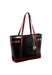 MCKLEIN - Skórzana torba damska Mcklein Serafina 97565. Kolor: czerwony. Wzór: paisley. Materiał: skórzane. Styl: biznesowy, klasyczny, elegancki. Rodzaj torebki: na ramię