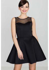 Czarna sukienka rozkloszowana Katrus wizytowa, bez rękawów