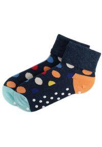 Niebieskie skarpetki Happy-Socks w kolorowe wzory