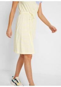 Żółta sukienka bonprix w paski