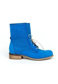 Niebieskie botki Zapato w ażurowe wzory, na niskim obcasie, na obcasie