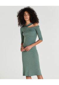 Zielona sukienka Patrizia Pepe rockowa, midi, asymetryczna