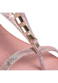 Różowe sandały R.Polański na obcasie, na średnim obcasie, z aplikacjami
