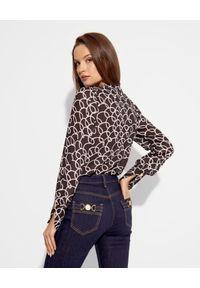 Elisabetta Franchi - ELISABETTA FRANCHI - Luźna koszula z designerskim nadrukiem. Typ kołnierza: dekolt w kształcie V. Kolor: czarny. Materiał: jeans, materiał. Długość: długie. Wzór: nadruk