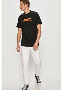 Czarny t-shirt Prosto. casualowy, z nadrukiem, na co dzień