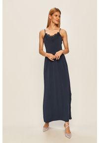 Vero Moda - Sukienka. Kolor: niebieski. Materiał: tkanina, koronka. Długość rękawa: na ramiączkach. Wzór: gładki. Typ sukienki: rozkloszowane