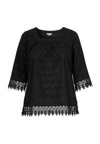 Czarna bluzka Zhenzi w koronkowe wzory, elegancka