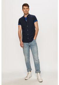 Jack & Jones - Koszula. Okazja: na co dzień. Typ kołnierza: button down. Kolor: niebieski. Długość rękawa: krótki rękaw. Długość: krótkie. Styl: casual