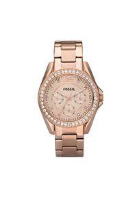 Fossil - Zegarek FOSSIL - Riley ES2811 Rose Gold/Rose. Kolor: różowy. Materiał: materiał. Styl: biznesowy, vintage