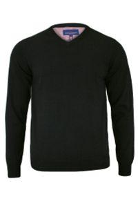 Czarny sweter Adriano Guinari z dekoltem w serek, biznesowy, na spotkanie biznesowe