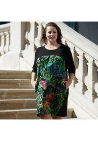 Zielona sukienka dla puszystych Moda Size Plus Iwanek na jesień, na co dzień, casualowa