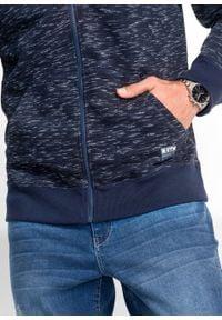 Bluza rozpinana z kapturem bonprix ciemnoniebieski melanż. Typ kołnierza: kaptur. Kolor: niebieski. Wzór: melanż