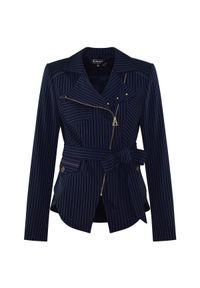 CATERINA - Wiązana marynarka w prążki. Kolor: niebieski. Materiał: tkanina. Wzór: prążki