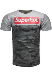 Szary t-shirt z nadrukiem Recea na co dzień, casualowy